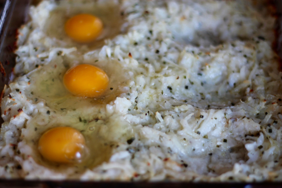 Rosti Casserole with Fried Eggs
