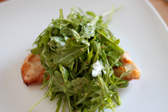 Grilled Chicken Paillard with Arugula and Shaved Pecorino
