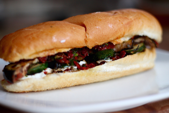 Grilled Vegetable and Goat Cheese Sandwiches - Sarah 'n Spice