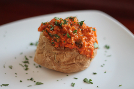 Baked Potato with Sausage and Arugula Sauce - Sarah 'n Spice