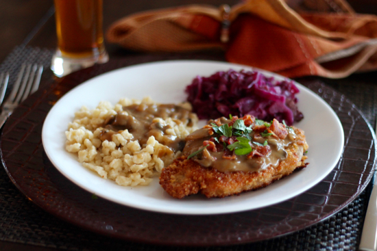 Jagerschnitzel with Bacon Mushroom Gravy and Spaetzle