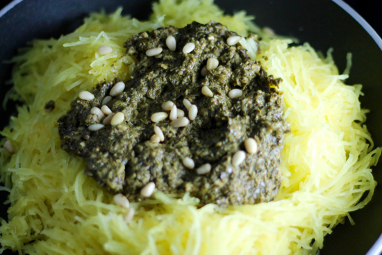 Spaghetti Squash Pasta with Pesto