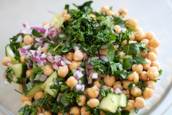 Cucumbers, garbanzo beans, red onion, basil and parsley for Bulgur Salad | sarahnspice.com