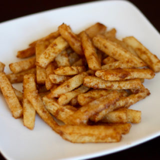 Jicama fries are a healthy alternative to regular fries. In this recipe, they're coated with olive oil and sprinkled with flavorful seasonings.
