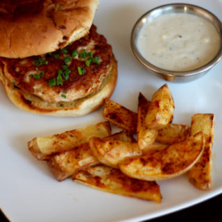 These Spicy Turkey Burgers with Blue Cheese Gravy and Fries are so easy to make and create the perfect food marriage of hot and cool! | sarahnspice.com