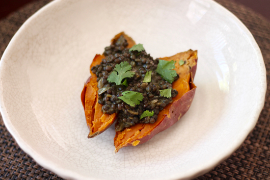 Black Dhal Stuffed Sweet Potatoes